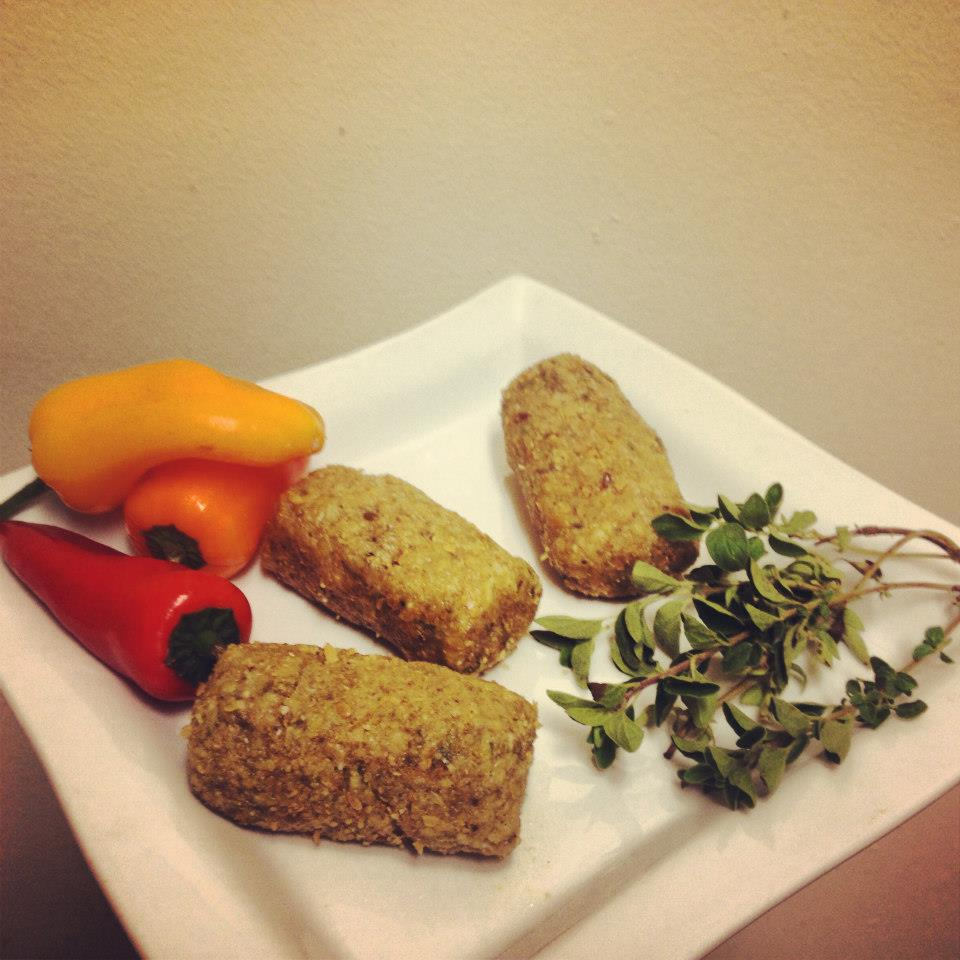 Savory Croquettes made with organic brazil nuts, cashews, flax, fresh herbs and love. *raw, vegan and gluten free*