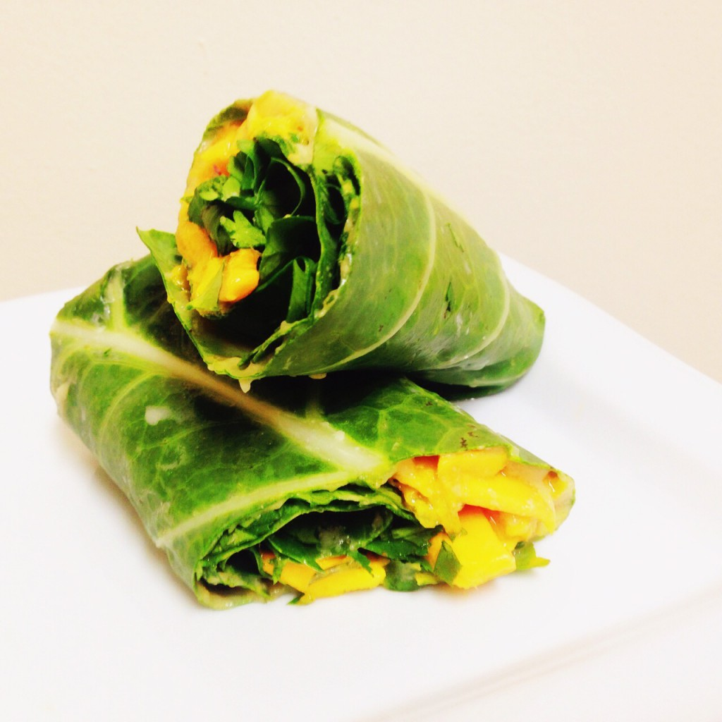 Thai Collard Wraps with mangoes, cilantro, lime and cashew butter. *raw, vegan and gluten free*